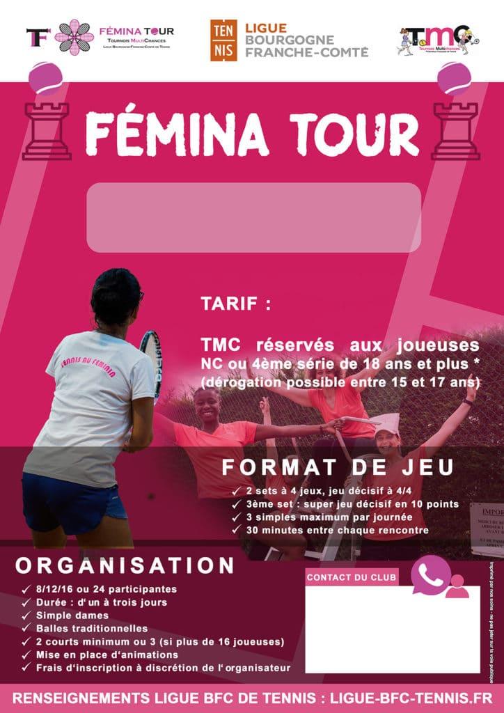 Modèle Clubs Femina Tour : Ligue BFC Tennis